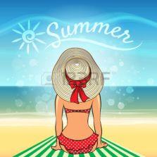40952570-belle-femme-bronzer-sur-la-plage-contre-lettrage-summer