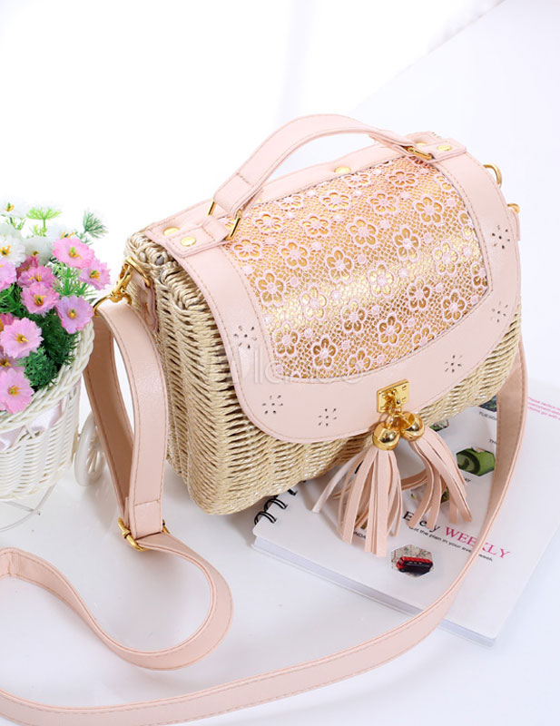 Article sac en paille rose