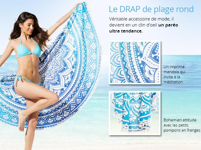 Article concours 400 abonnées serviette ronde de plage 3 suisses