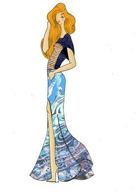 Article robe longue dessin