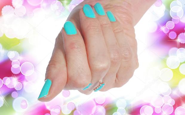 Doigts Vernis Bleu