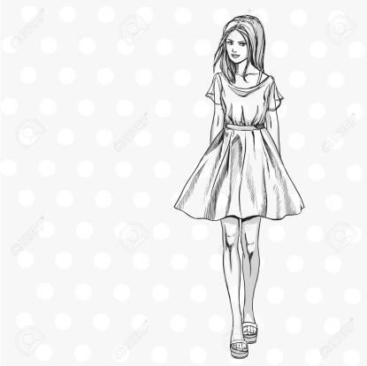 Jeune Fille Mince À La Mode En Robe D'été. Comics Style De Croquis encequiconcerne Dessins De Mode Noir Et Blanc