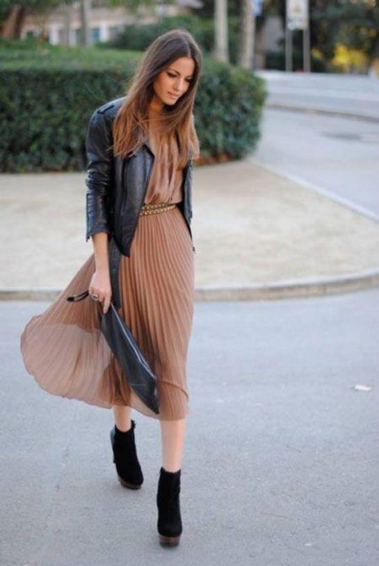 Robe longue avec perfecto