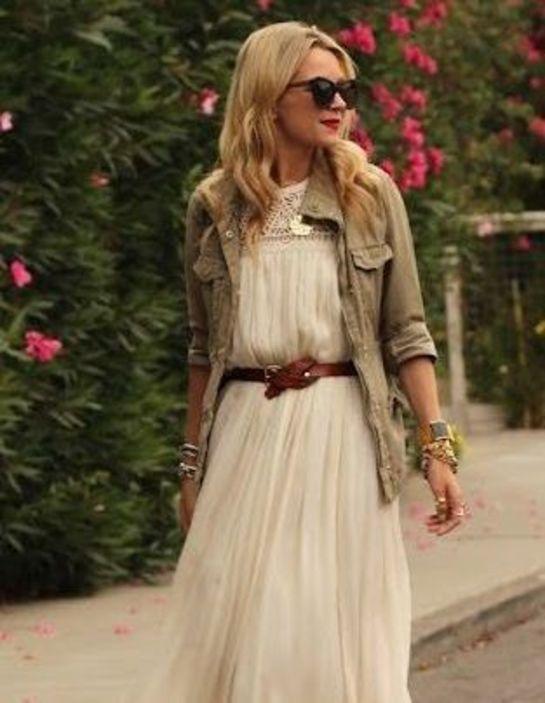 robe longue avec une saharienne