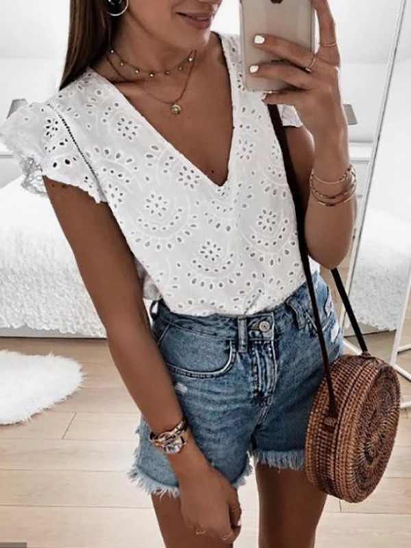 white-cut-out-bodycon-short-sleeve-v-neck-sweet-t-shirt CICHIC